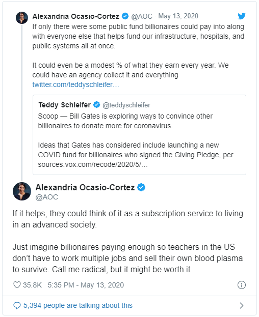 AOC tweet re Bill Gates
